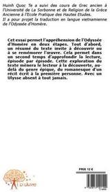 Ulysse absent ; une introduction à la lecture de l'odysée d'Homère - 4ème de couverture - Format classique