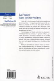 La France dans ses territoires - 4ème de couverture - Format classique