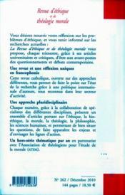Revue D'Ethique Et De Theologie Morale N.262 - 4ème de couverture - Format classique