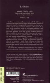 Le moine - 4ème de couverture - Format classique
