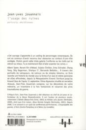 L'usage des ruines ; portraits obsidionaux - 4ème de couverture - Format classique