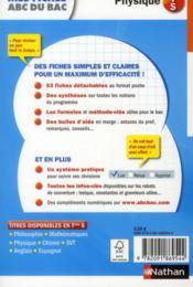 MES FICHES ABC DU BAC T.9 ; physique ; terminale S - 4ème de couverture - Format classique