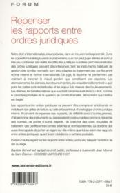 Repenser les rapports entre ordres juridiques - 4ème de couverture - Format classique
