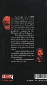 Abrege du capital de karl marx (ned 2013) - 4ème de couverture - Format classique