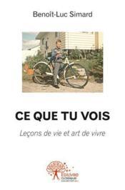 Ce que tu vois ; leçons de vie et art de vivre - Couverture - Format classique