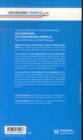 Accompagner les demandeurs d'emploi ; pour en finir avec le retard français - 4ème de couverture - Format classique