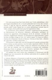 Dictionnaire Sartre - 4ème de couverture - Format classique