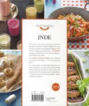 Inde ; les meilleures recettes - 4ème de couverture - Format classique