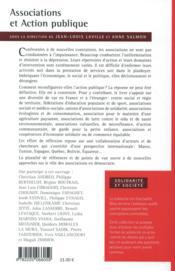 Associations et action publique - 4ème de couverture - Format classique
