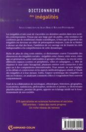 Dictionnaire des inégalités - 4ème de couverture - Format classique