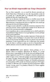 Pour un sénat responsable au Congo-Brazzaville ;1er décembre 2007, 13 décembre 2012 - Couverture - Format classique