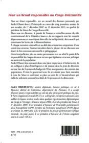 Pour un sénat responsable au Congo-Brazzaville ;1er décembre 2007, 13 décembre 2012 - 4ème de couverture - Format classique