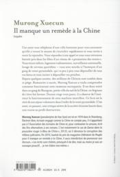 Il manque un remède à la Chine - 4ème de couverture - Format classique