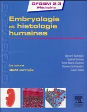Embryologie et histologie humaines - Couverture - Format classique