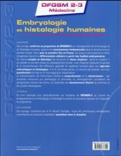 Embryologie et histologie humaines - 4ème de couverture - Format classique