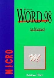 Word 98 sur macintosh - Couverture - Format classique