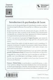 Introduction A La Psychanalyse De Lacan 5e Edition - 4ème de couverture - Format classique