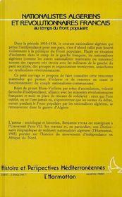 Nationalistes Algeriens Et Revolutionnaires Francais Au Temps Du Front Populaire - 4ème de couverture - Format classique