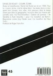 Courir, Ecrire - 4ème de couverture - Format classique