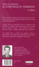 Guide Fiscal Du Patrimoine ; Edition 2003 - 4ème de couverture - Format classique