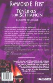 Ténèbres sur Sethanon ; la guerre de la faille t.3 - 4ème de couverture - Format classique