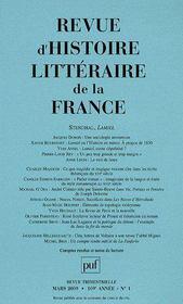 Revue D'Histoire Litteraire De La France N.2009/1 - Couverture - Format classique