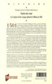 Fastes de cour ; les enjeux d'un voyages princier à Blois en 1501 - 4ème de couverture - Format classique