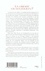 La Liberte Ou Les Idoles - 4ème de couverture - Format classique
