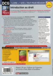DCG 1 introduction au droit (5e édition) - 4ème de couverture - Format classique