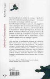 Mémoire d'une passion ; un parcours psychanalytique - 4ème de couverture - Format classique