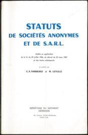 STATUTS DE SOCIÉTÉS ANONYMES ET DE S.A.R.L. établis en application de la loi du 24 juillet 1966, du décret du 23 mars 1967 et des textes subséquents - Couverture - Format classique