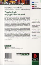 Psychologie du jugement moral ; textes fondamentaux et concepts - 4ème de couverture - Format classique