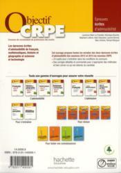 Objectif Crpe ; Toutes Les Annales ; Session 2012/2013 - 4ème de couverture - Format classique