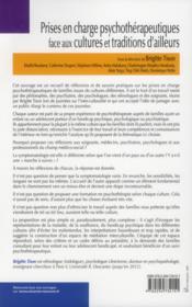 Prises en charge psychothérapeutiques face aux cultures et traditions d'ailleurs - 4ème de couverture - Format classique