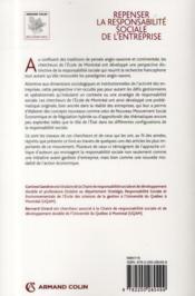 Repenser la responsabilité sociale de l'entreprise ; l'école de Montréal - 4ème de couverture - Format classique