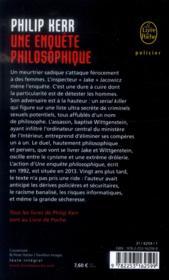 Une enquête philosophique - 4ème de couverture - Format classique