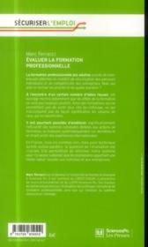 Évaluer la formation professionnelle - 4ème de couverture - Format classique