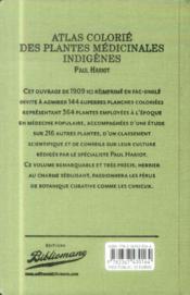 Atlas colorié des plantes médicinales indigènes - 4ème de couverture - Format classique