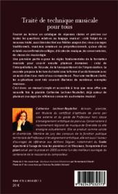 Traité de technique musicale pour tous - 4ème de couverture - Format classique