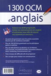 1300 qcm d'anglais - 4ème de couverture - Format classique
