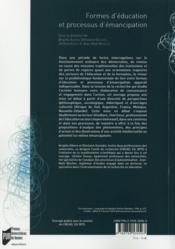 Formes d'éducation et processus d'émancipation - 4ème de couverture - Format classique