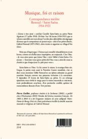 Musique, foi et raison ; correspondance inédite Renoud/Saint-Saêns 1914-1921 - Couverture - Format classique