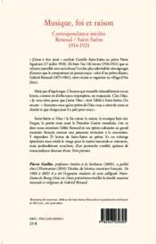 Musique, foi et raison ; correspondance inédite Renoud/Saint-Saêns 1914-1921 - 4ème de couverture - Format classique