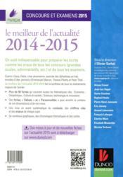 Le meilleur de l'actualité 2014-2015 ; concours et examens 2015 - 4ème de couverture - Format classique