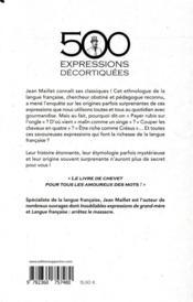 500 expressions populaires décortiquées - 4ème de couverture - Format classique