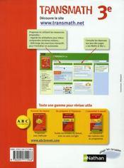 TRANSMATH ; mathématiques ; 3ème ; manuel de l'élève (édition 2008) - 4ème de couverture - Format classique