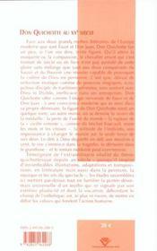 Don Quichotte au XX siècle ; réceptions d'une figure mythique dans la littérature et les arts - 4ème de couverture - Format classique