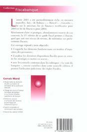 Fiscalite. Placements Et Reductions D'Impots - 4ème de couverture - Format classique