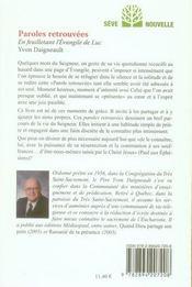 Paroles retrouvées ; en feuilletant l'évangile de Luc - 4ème de couverture - Format classique