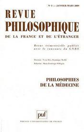 REVUE PHILOSOPHIQUE N.134/1 ; philosophies de la médecine - Couverture - Format classique